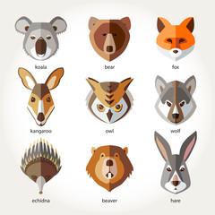 Animals set icon head muzzles koala bear fox kangaroo owl wolf echidna beaver rabbit hare