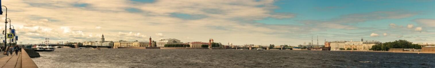 St. Petersburg, Russia - June 28, 2017: Panoramic view of the Neva River embankment in St. Petersburg.