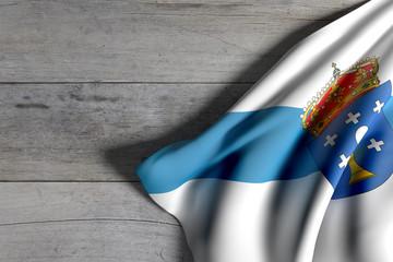 Galicia flag on wood