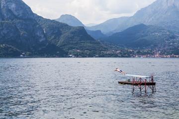 Swimmer diving in Como Lake, Bellagio, Italy
