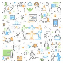 Modern line web concept for teamwork