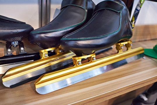 Skates for speed skating on shelf