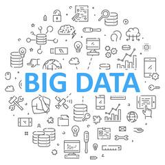 Round line banner for big data