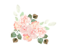 Watercolor bouquet with rose. Illustration