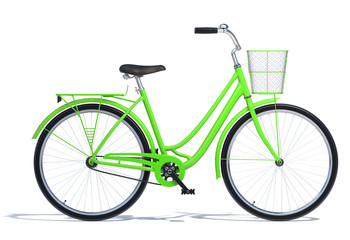 Green Vintage Style Bike isolated on white