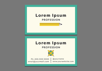 Teal Border Business Card Layout 1