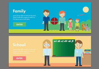 Family and School Web Banner Layouts 1