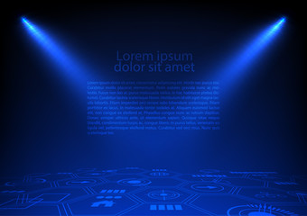 Hi-tech background and spotlight with icon and hexagons on dark background vector technology template