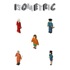 Isometric People Set Of Female, Policewoman, Cleaner And Other Vector Objects. Also Includes Female, Cleaner, Hippie Elements.