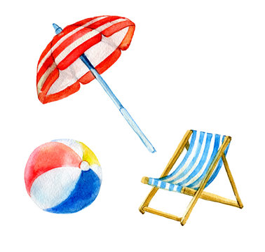Set of beach, summer objects, umbrella, ball, chair isolated on white background, watercolor illustration