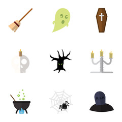 Flat Icon Festival Set Of Terrible Halloween, Magic, Phantom And Other Vector Objects. Also Includes Skull, Specter, Cobweb Elements.