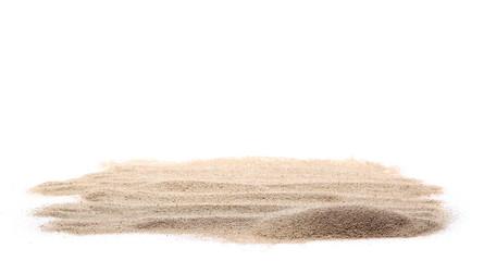pile dry desert sand isolated on white background