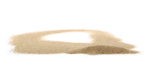 pile dry desert sand isolated on white background