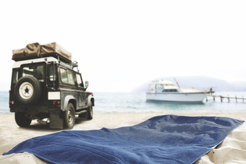 car yacht and towel space