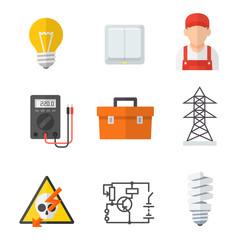 Electrician industry icon cartoon set