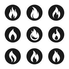 Fire flame icon button set