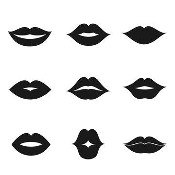 Lips black shape icon set