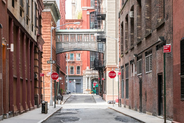Fotobehang New York Buildings at the intersection of Staple Street and Jay Street in the historic Tribeca neighborhood of Manhattan, New York City NYC