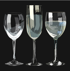 Vector set of glasses hand drawn style. isolated on black bakground