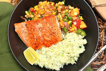 Salmon and Cilantro-Lime Rice