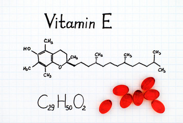 Chemical formula of Vitamin E and pills