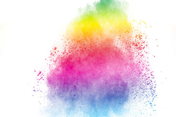 abstract colored powder splatted on white background,Freeze motion of color powder exploding