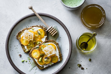 Honey kumquat toast