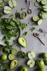 Ingredients for a healthy green match smoothie
