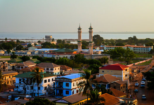 Aerial panorama view to city of Banjul, Gambia