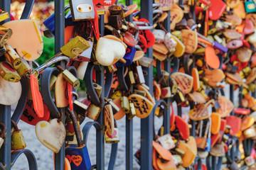 Many Love padlocks or Locks of love on the Fence