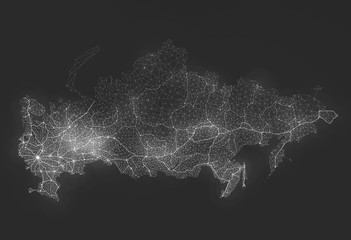 Fototapete - Abstract Telecommunication Network Map - Russia