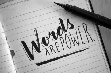 WORDS ARE POWER hand-lettered quotation