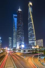 Skyscrapers in Shanghai at night