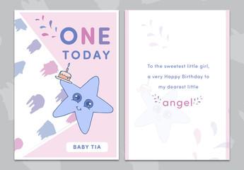 Cartoon Star Birthday Card Layout 1