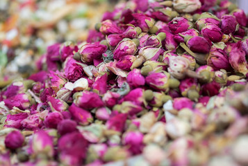 Dried rose buds  for sale at Carmel Market, popular marketplace in Tel-Aviv. Israel