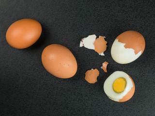 Four Fresh Hard Boiled Eggs