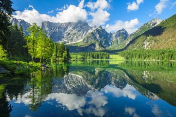 Papiers peints Kaki High resolution panorama of the Laghi di Fusine alpine lake in the Julian Alps in Italy