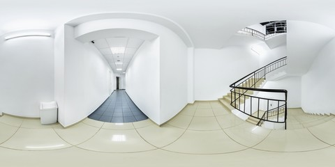 Big white hallway with staircase stairs white recycling bin trash can with blue and white floor tiles full 360 degree panorama in equirectangular spherical projection