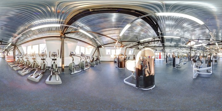 Lightfull sunny modern big huge fitness hall gym with black and blue floor full 360 degree panorama in equirectangular spherical projection