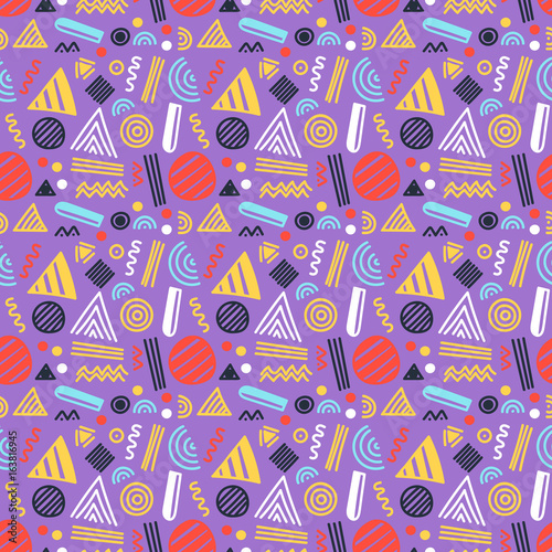 Vector seamless pattern with abstract geometric shapes and