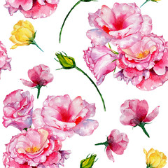 Wildflower roses flower pattern in a watercolor style. Full name of the plant: roses. Aquarelle wild flower for background, texture, wrapper pattern, frame or border.