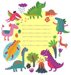 Dinosaurs vector set characters