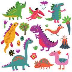 Dinosaurs vector set characters