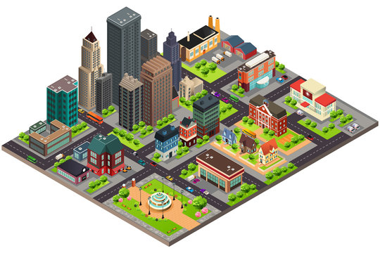Isometric Design of City Streets and Buildings