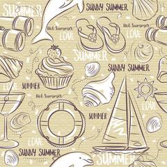 Seamless Patterns with  summer symbols, boat, shels,  dolphin, cocktail, binoculars, flip-flops on a beige  grunge background, vector illustration.