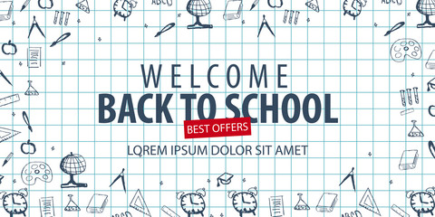 Welcome Back to School banner with different school objects. School sale banners and best offers.