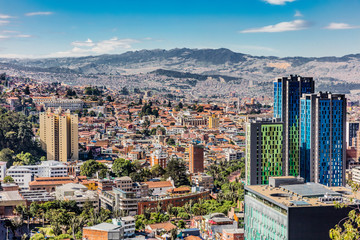 Zelfklevend Fotobehang Zuid-Amerika land Bogota Skyline cityscape in Bogota capital city of Colombia South America