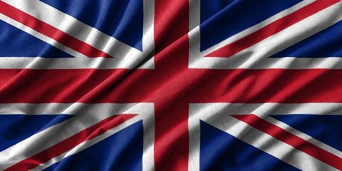 United Kingdom flag painting on high detail of wave cotton fabrics .
