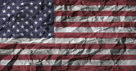 American flag with high detail of crumpled paper . 3D illustration .