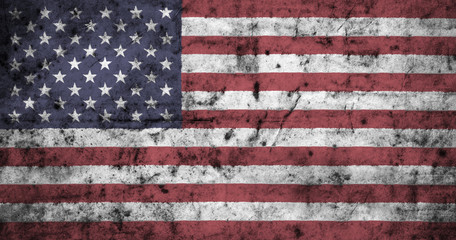 American flag with high detail of old dirty crumpled paper . 3D illustration .